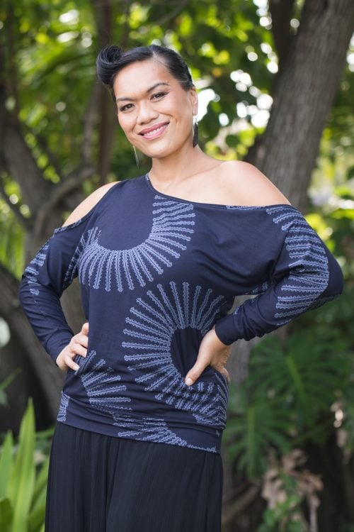 Model wearing Kipoohiwi Top in Deep Well Folkstone Grey Lalani Kalalea Pattern - Front View