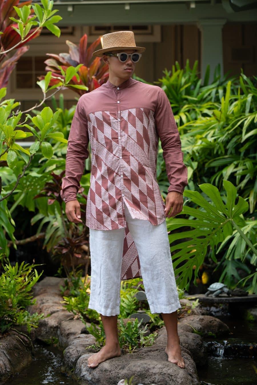 Male Model wearing Mandarin Half Tunic in Fired Brick White Kamehameha Pattern - Front View