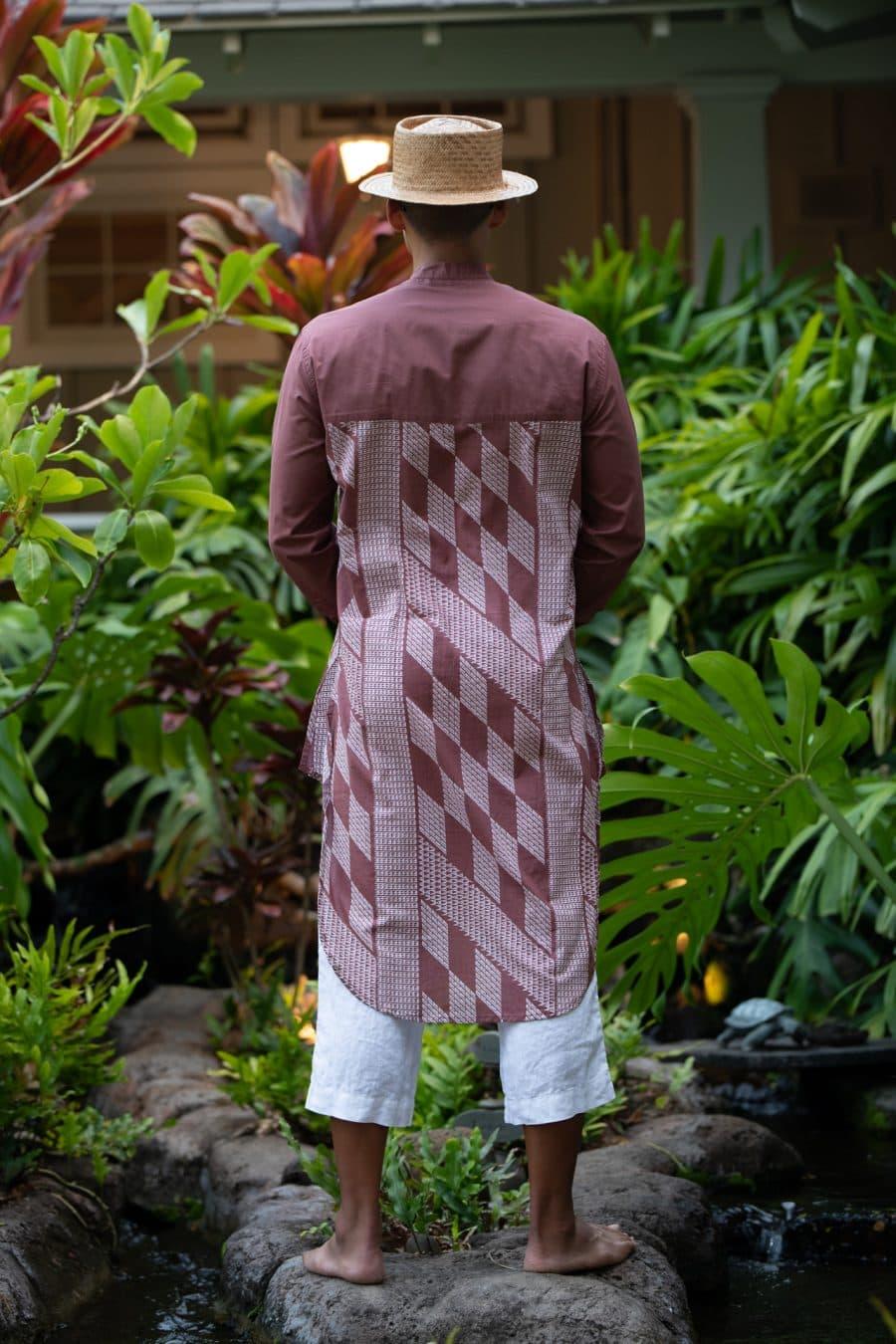 Male Model wearing Mandarin Half Tunic in Fired Brick White Kamehameha Pattern - Back View