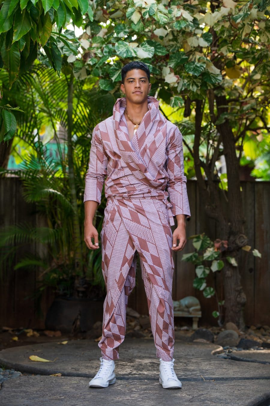 Male model wearing Mohala Jacket in Fired Brick White Kamehahema Pattern - Front View