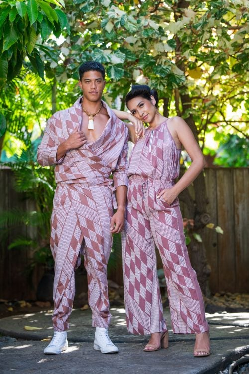 Male model wearing Mohala Jacket and Female wearing Kaiulani Top in Fired Brick White