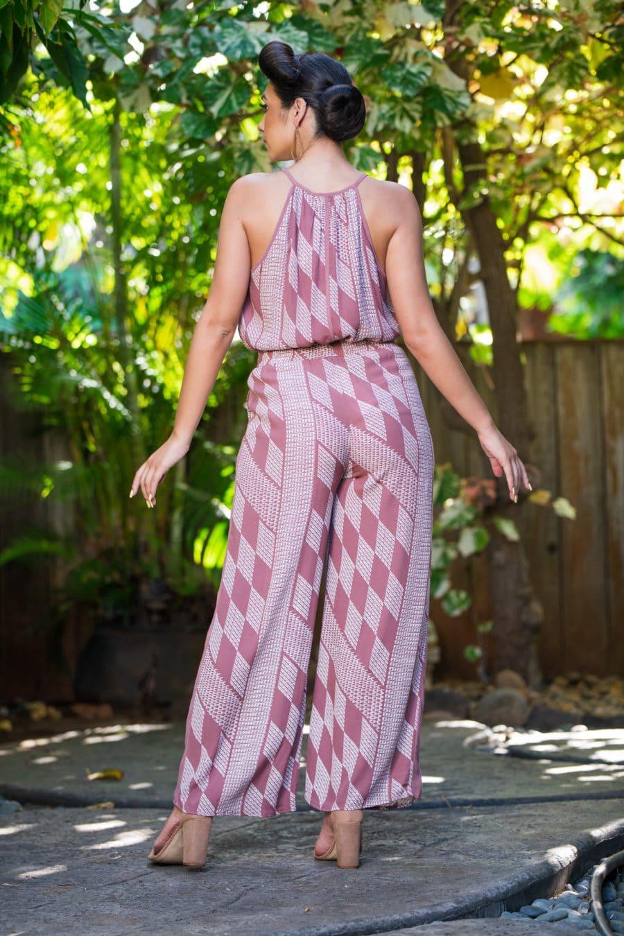Model wearing Ola Pant in Fired Brick White Kamehahema Pattern - Back View