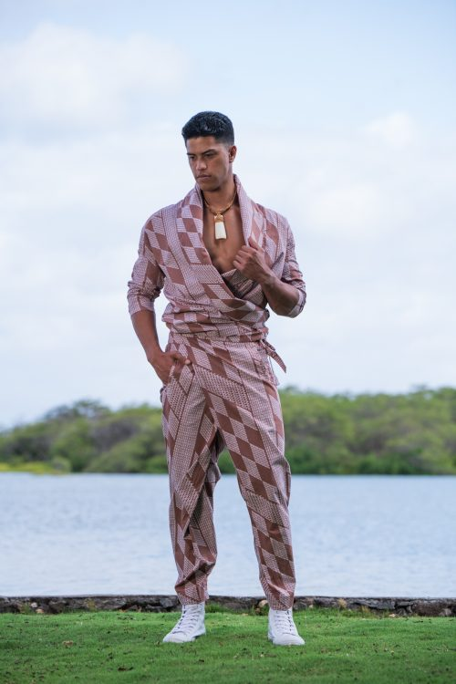 Male Model wearing Kepa Pant in Fired Brick White Kamehahema Pattern - Front View