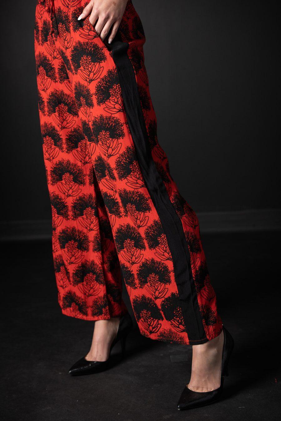 Pants of Lanihau Jumpsuit in Firey Red-Black Kalihilehua Pattern