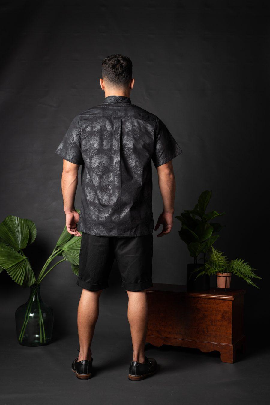 Male model wearing Aloha Shirt S-S - Back View