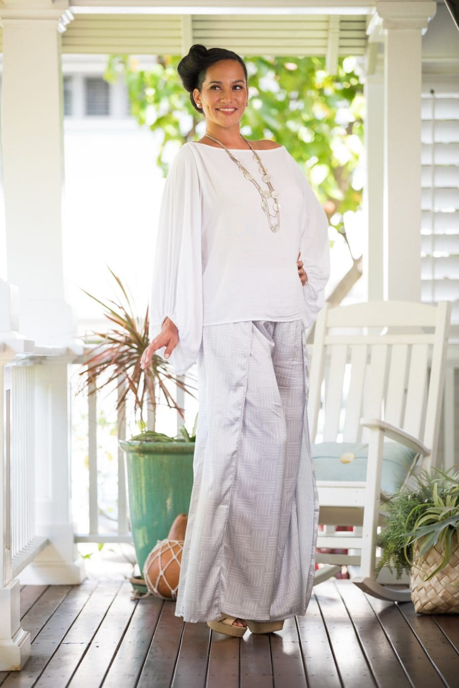 Model wearing Hapuna Pant in Blanc De-Lilac Grey Ulana Pattern- Front View