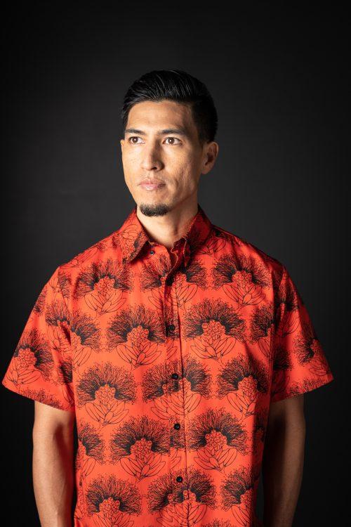 Male model wearing Aloha Shirt in Firey Red-Black Kalihilehua Pattern - Front View View