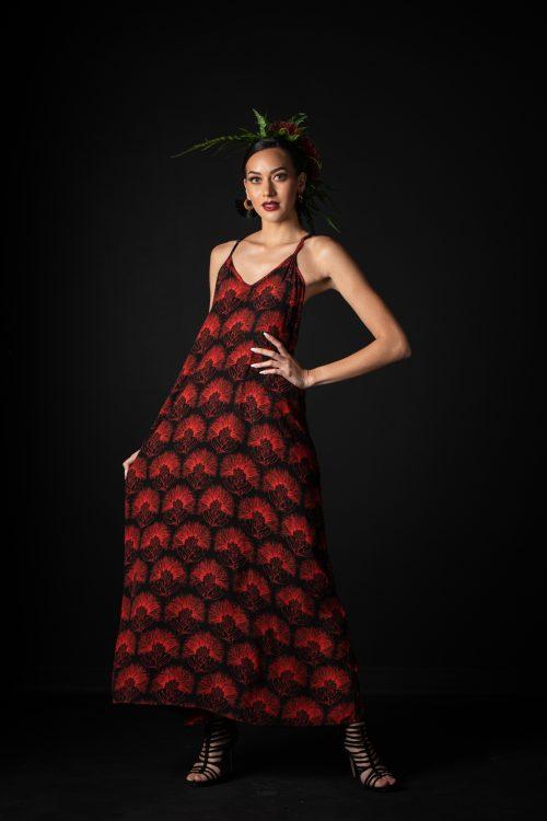 Model wearing Lanihau Dress in Black Fiery Red Kalihilehua Pattern- Front View