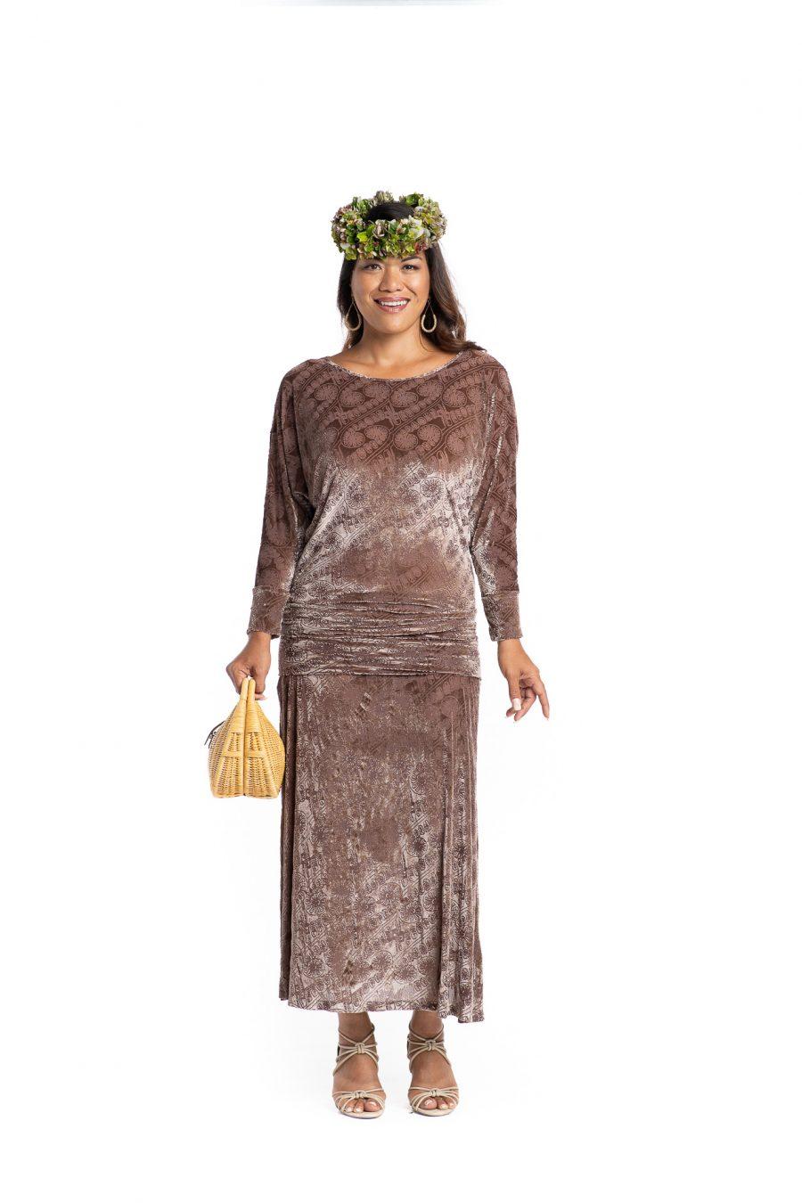 Model wearing Kanoe Cold Shoulder in Angel Wing Amau Pattern- Front View