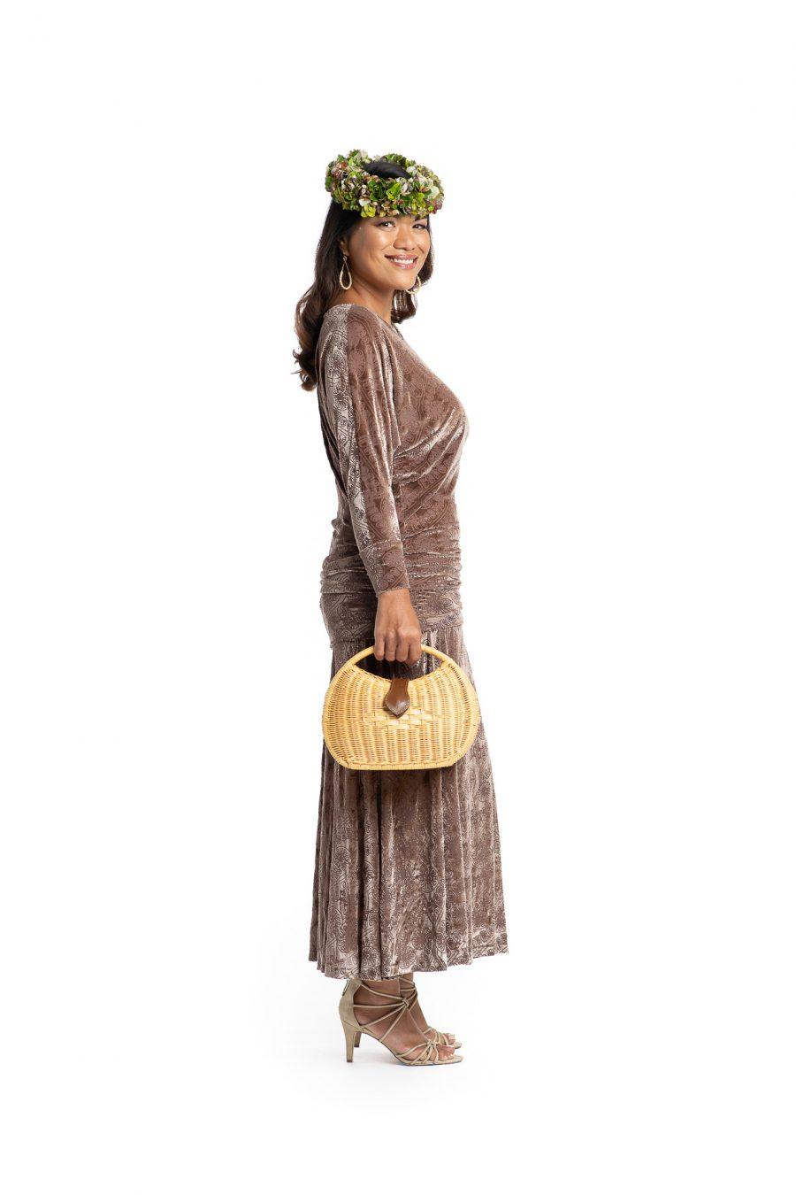 Model wearing Kanoe Cold Shoulder in Angel Wing Amau Pattern- Side View