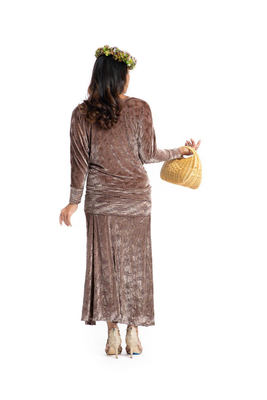 Model wearing Kanoe Cold Shoulder in Angel Wing Amau Pattern- Back View