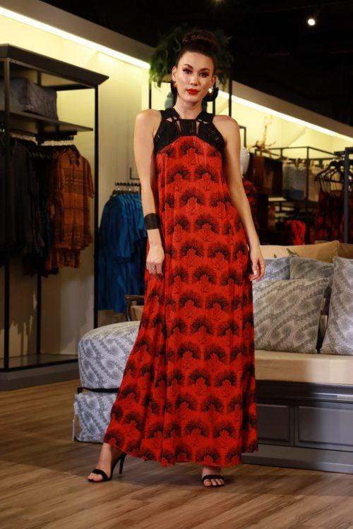 Model wearing Iwa Ia Dress in Fiery Red-Black Kalihilehua Pattern- Front View