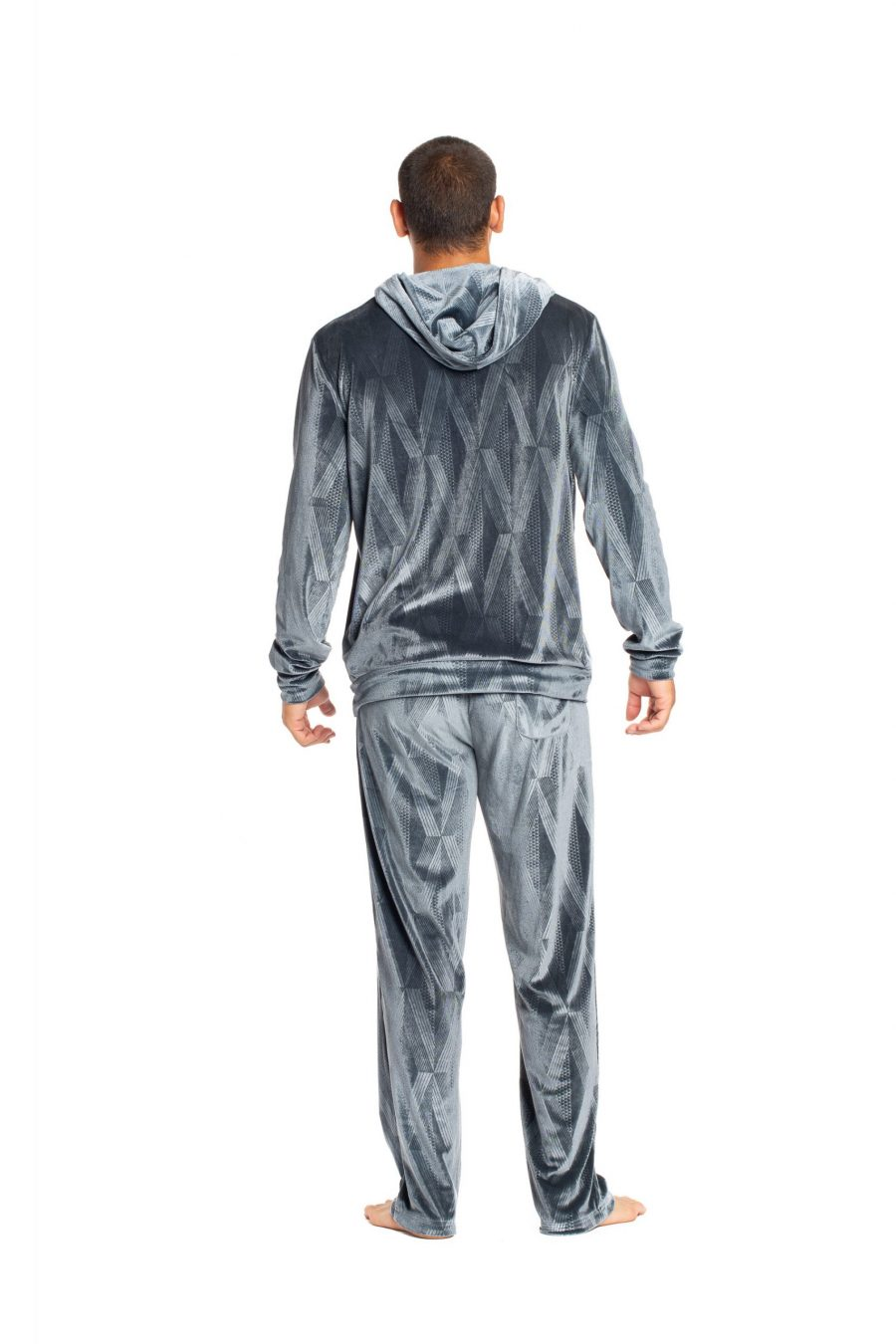 Male Model wearing Kahakai Beach Pant in Sharkskin Grey Kanaloa Pattern - Back View