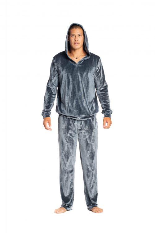 Male Model wearing Kahakai Beach Pant in Sharkskin Grey Kanaloa Pattern - Front View