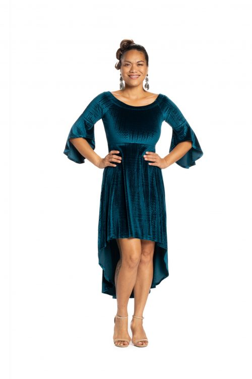 Model wearing Melia Dress in Peacock Teal Ulana Pattern- Front View