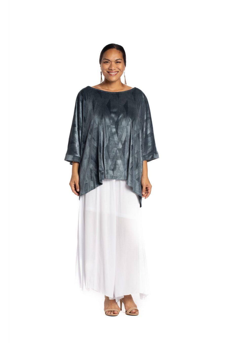 Model wearing Pakele Top in Sharkskin Kanaloa Pattern- Front View
