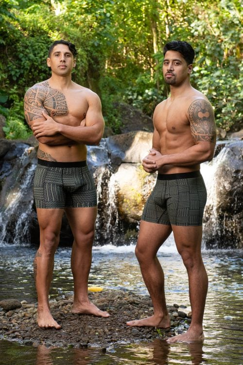 Two male models wearing Manaola Boxer Trunk in Martini Olive-Jet Black Ulana Pattern - Front View