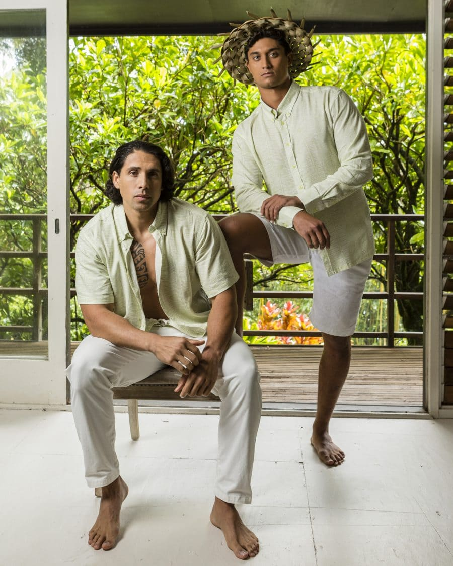 Male models wearing Aloha Short and Long Sleeve in Margarita Tofu Kupukupu Pattern Front View