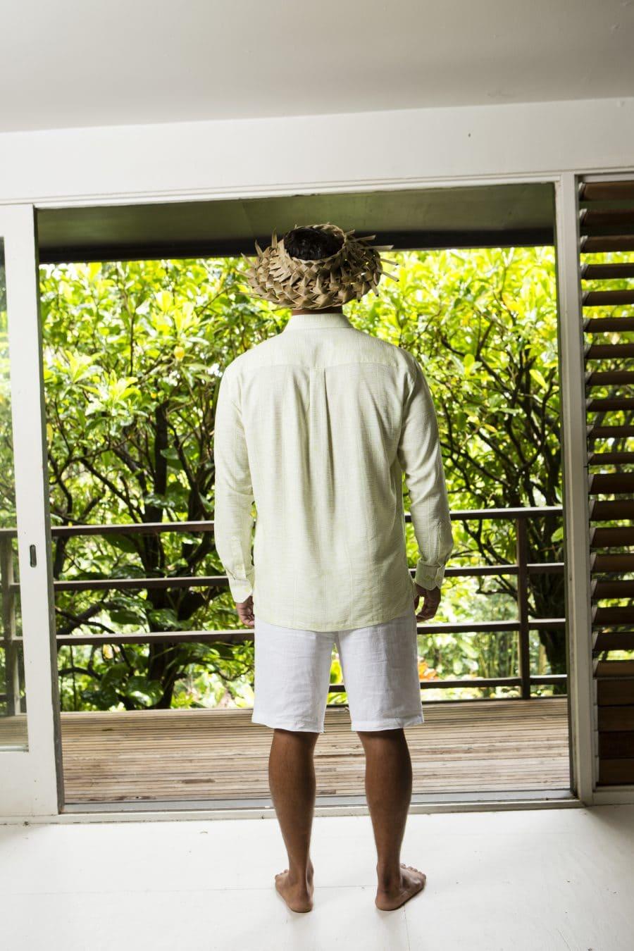 Male Model wearing Mahalo Shirt in Tofu Kupukupu Pattern Back View