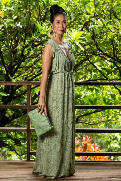 Model wearing Alena Long Dress Margarita Lily Pad Color and Kupukupu pattern