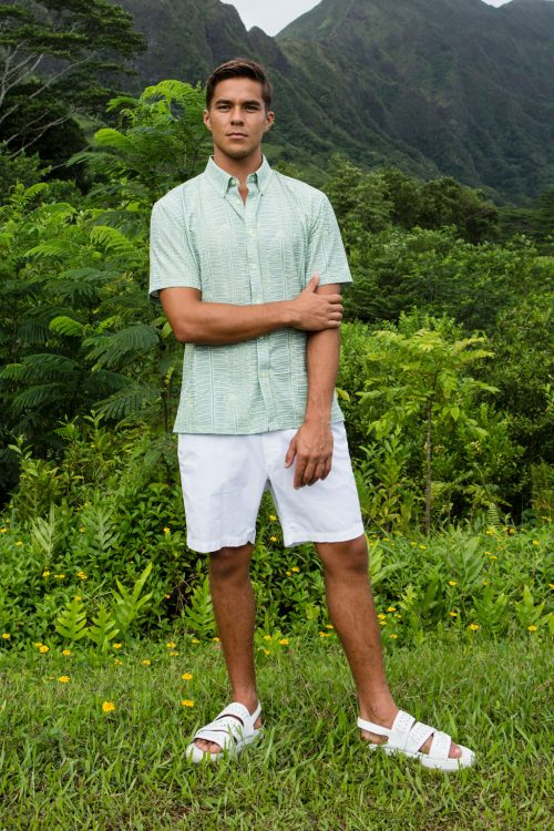 Male model wearing Mahalo Shirt in Lily Pad Margarita Kupukupu pattern