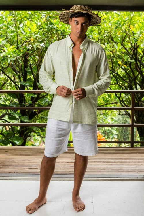 Male model wearing Aloha Long Sleeve in Tofu Margarita Kupukupu pattern front view