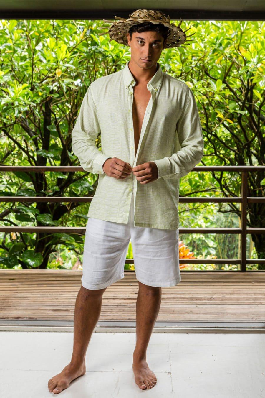 Male model wearing Aloha Long Sleeve in Tofu Margarita Kupukupu pattern front view