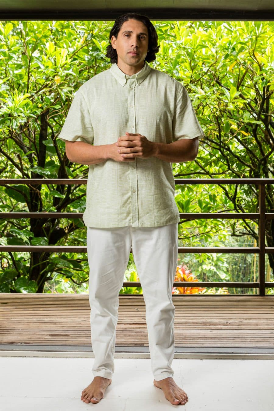Male model wearing Aloha Short Sleeve in Margarita Tofu Kupukupu pattern front view
