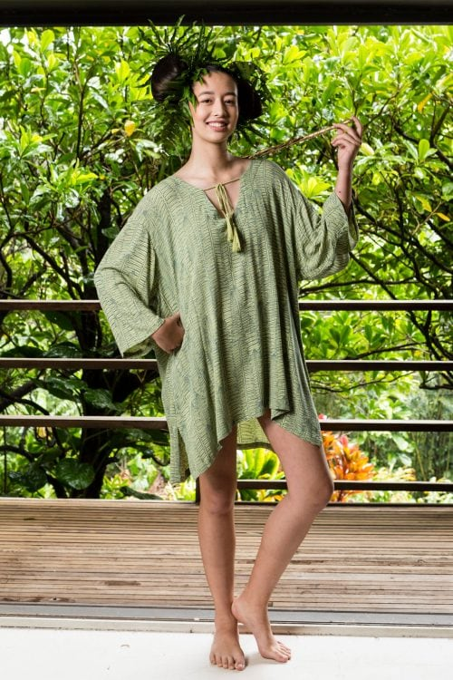 Model wearing Aulani Top in Margarita Lily Pad Kupukupu pattern