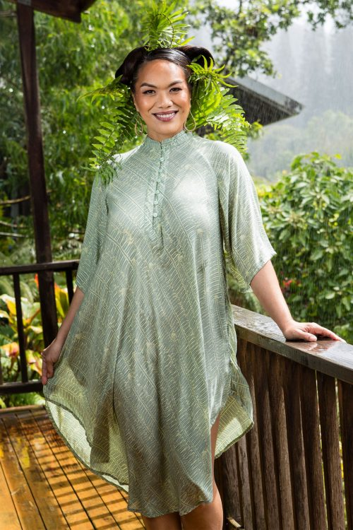 Model wearing Koali dress in Lily Pad Margarita Kupukupu Pattern front view