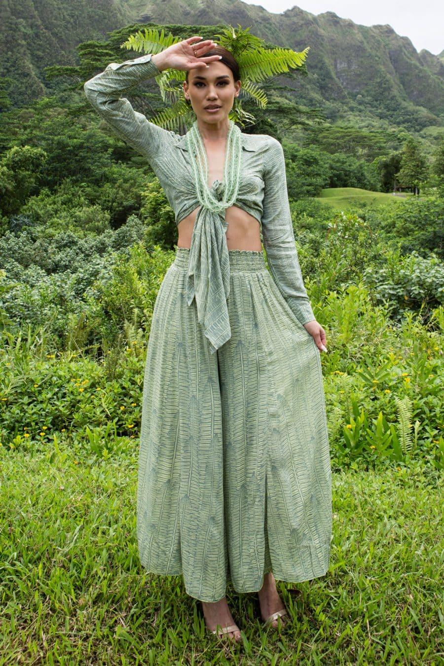 Model wearing Huaki pant in Margarita Lily Pad Kupukupu pattern