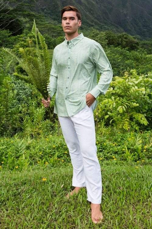 Male model wearing Mahalo Shirt in Margarita Lily Pad Kupukupu pattern