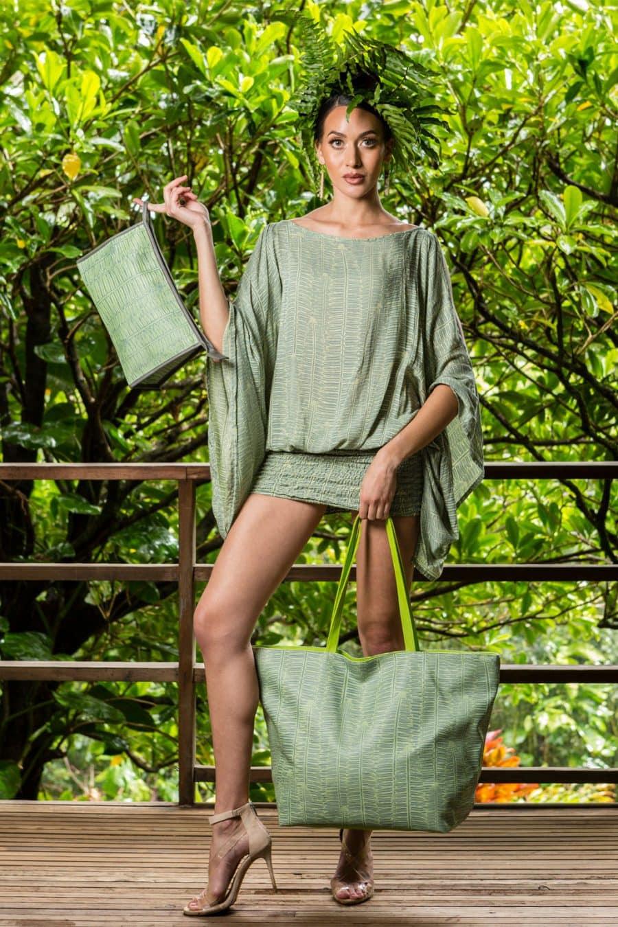 Model Holding Wailani Tote in Lily Pad Margarita Kupukupu pattern