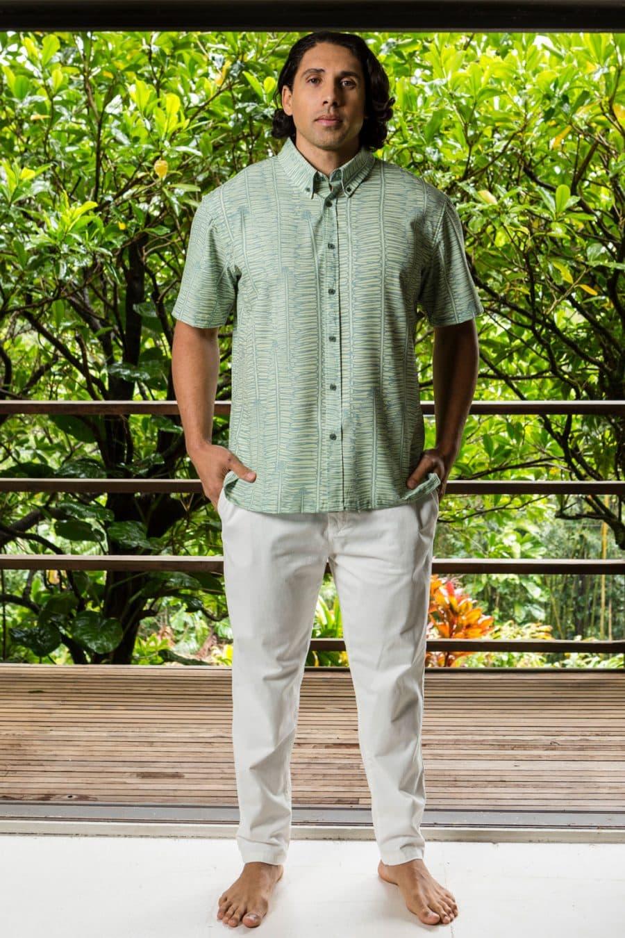 Male model wearing Mahalo Shirt in Margarita Lily Pad Kupukupu pattern