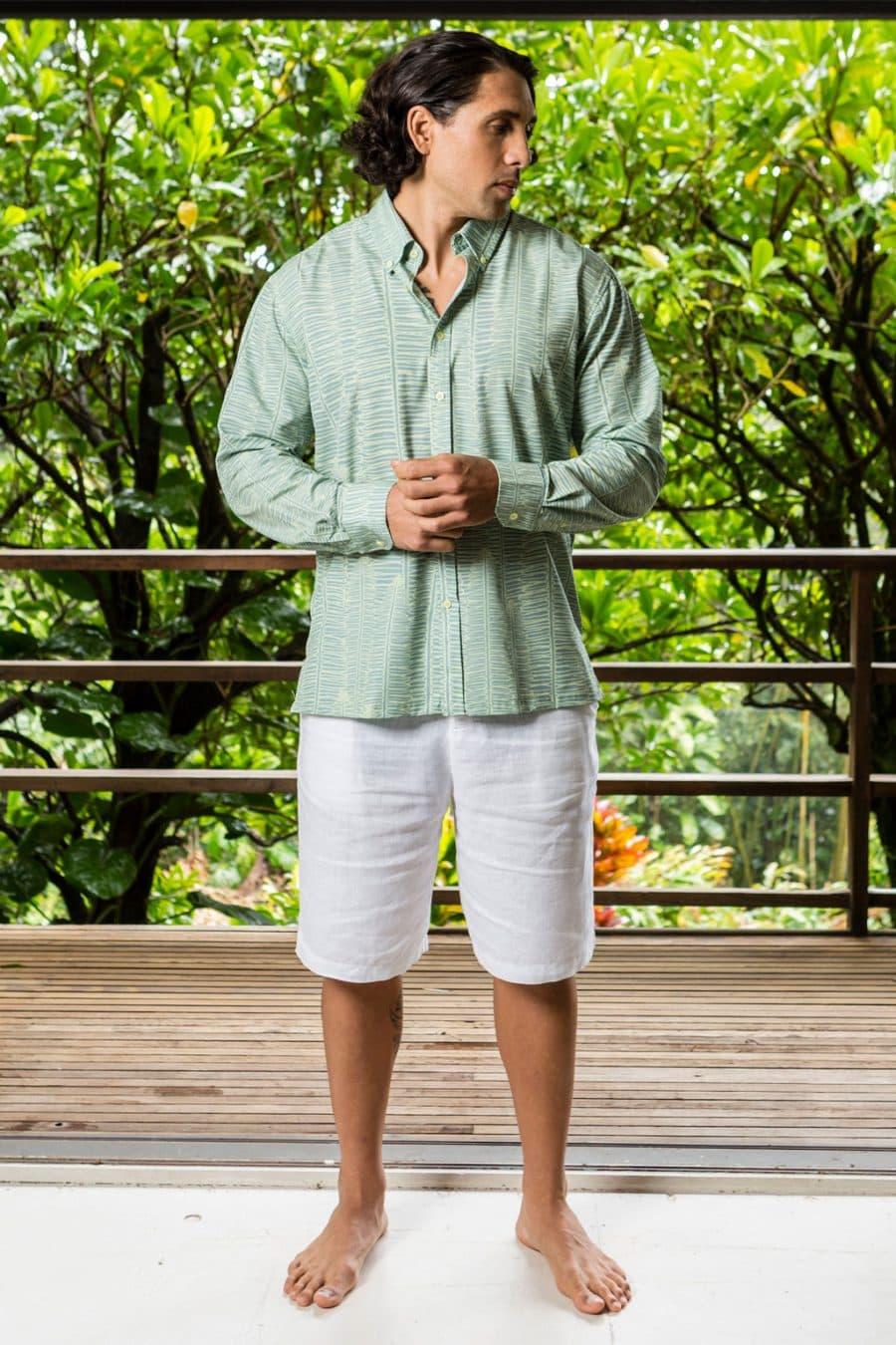 Male Model Wearing Mahalo Shirt in Lily Pad Margarita Kupukupu Pattern