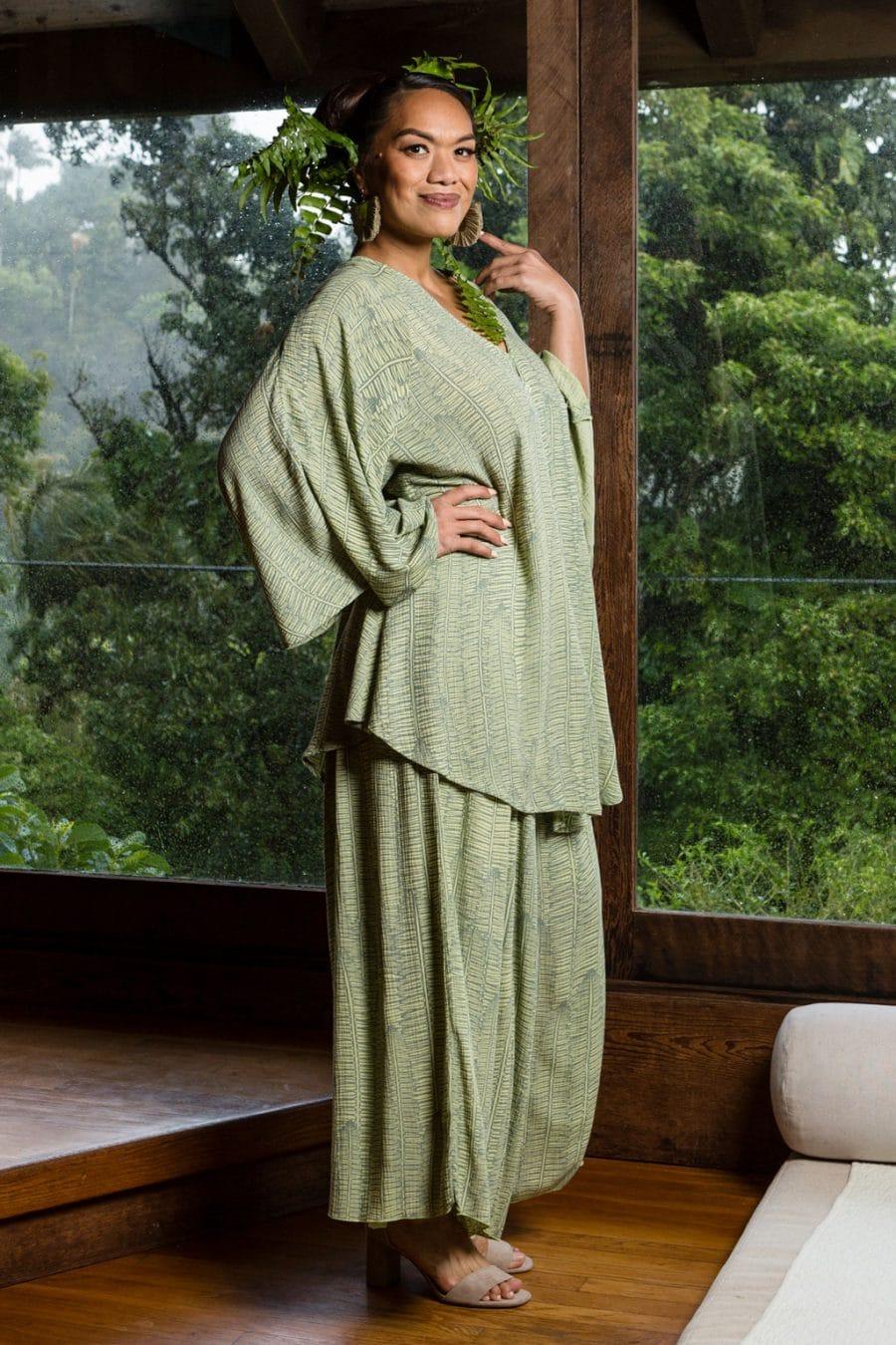 Model wearing Mailei Cover Up in Margarita Lily Pad Kupukupu pattern