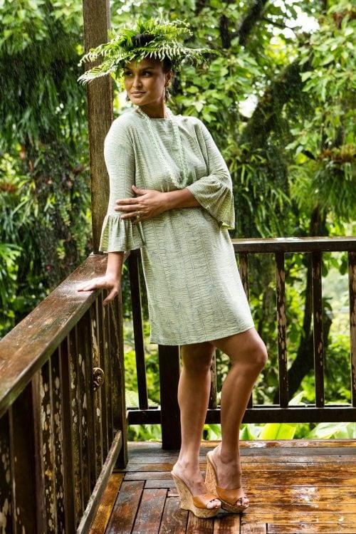 Model wearing Mama Dress in Margarita Lily Pad Kupukupu pattern