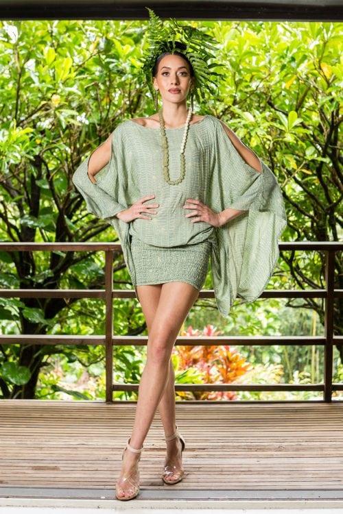 Model wearing Melia Top in Lily Pad Margarita Kupukupu Pattern