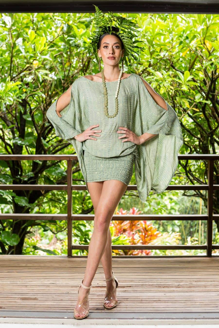 Model wearing Melia Top in Lily Pad Margarita Kupukupu Pattern