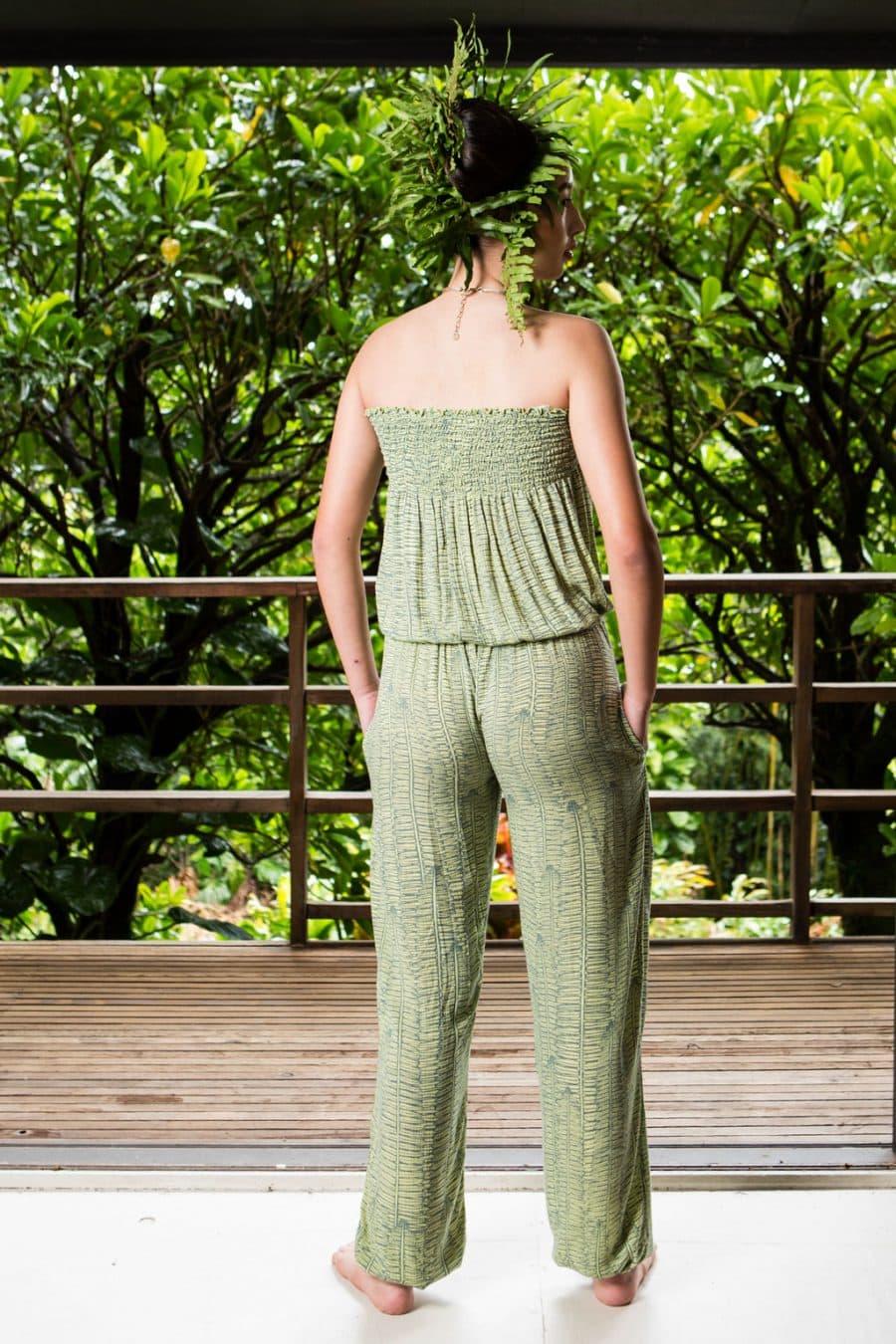 Model wearing Nanea Jumpsuit in Margarita Lily Pad Kupukupu back view
