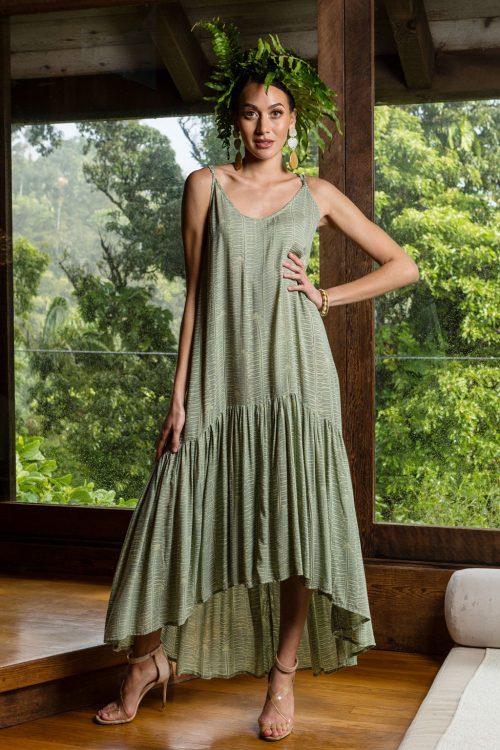 Model wearing Oluolu Maxi Dress in Lily Pad Margarita Kupukupu pattern front view