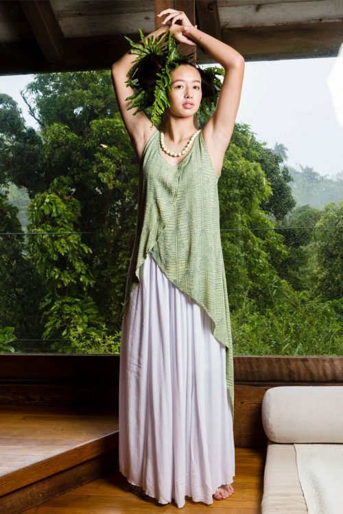 Model wearing Tapa Top in Margarita Lily Pad Kupukupu pattern