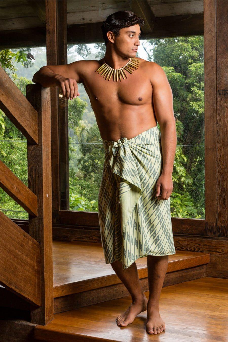 Male Model Wearing Lily Pad Margarita Pareo Wrap in Uwila Pattern