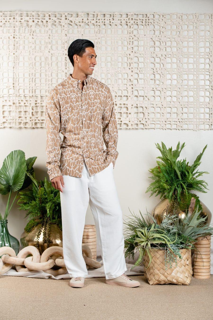 Male model wearing Aloha Shirt L-S in Carob Brown/White Kapualiko - Front View