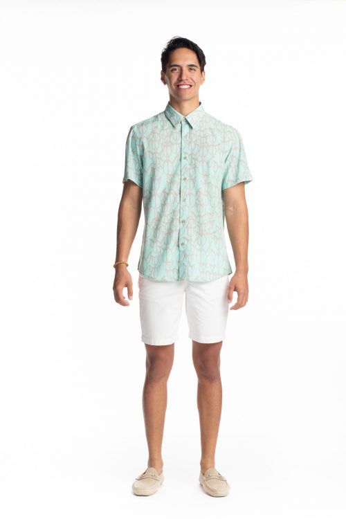 Male model wearing Hula Shirt S-S in Icy Moron/Cobblestone Kapualiko - Front View
