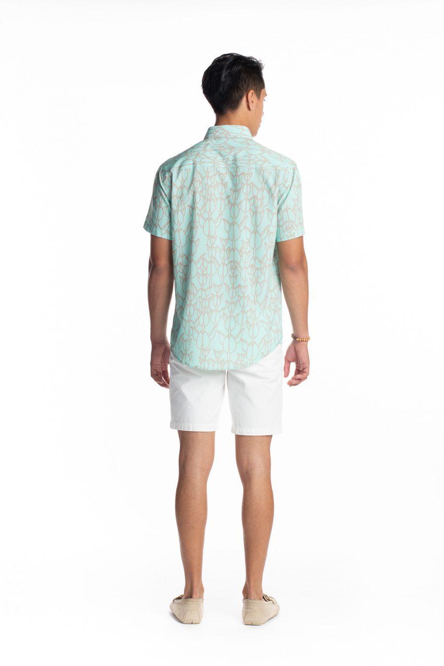 Male model wearing Hula Shirt S-S in Icy Moron/Cobblestone Kapualiko - Back View