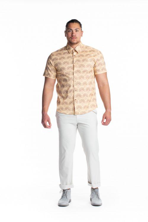 Male model wearing Aloha Short Sleeve in Apricot Sherbert/Gingersnap Kalihilehua - Front View