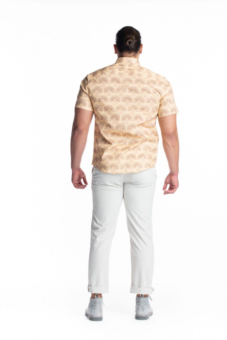 Male model wearing Aloha Short Sleeve in Apricot Sherbert/Gingersnap Kalihilehua - Back View