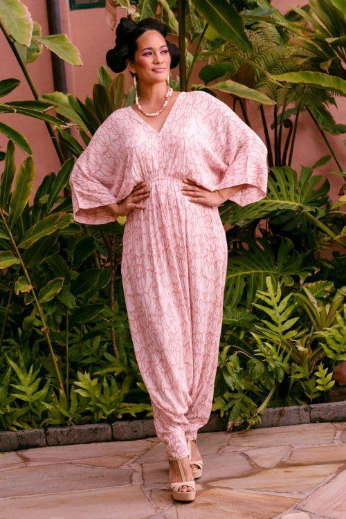 Female model wearing Ululani Jumpsuit in Kapualiko Pattern and Ash Rose-Lotus Color - Front View