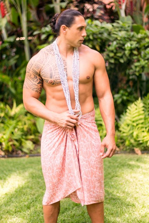 Male Model wearing Pareo in a Kapualiko and Ash Rose-Lotus Color - Front View